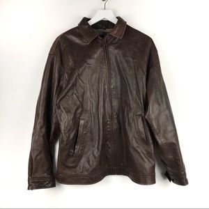 Polo Ralph Lauren Brown Leather Jacket Size Large